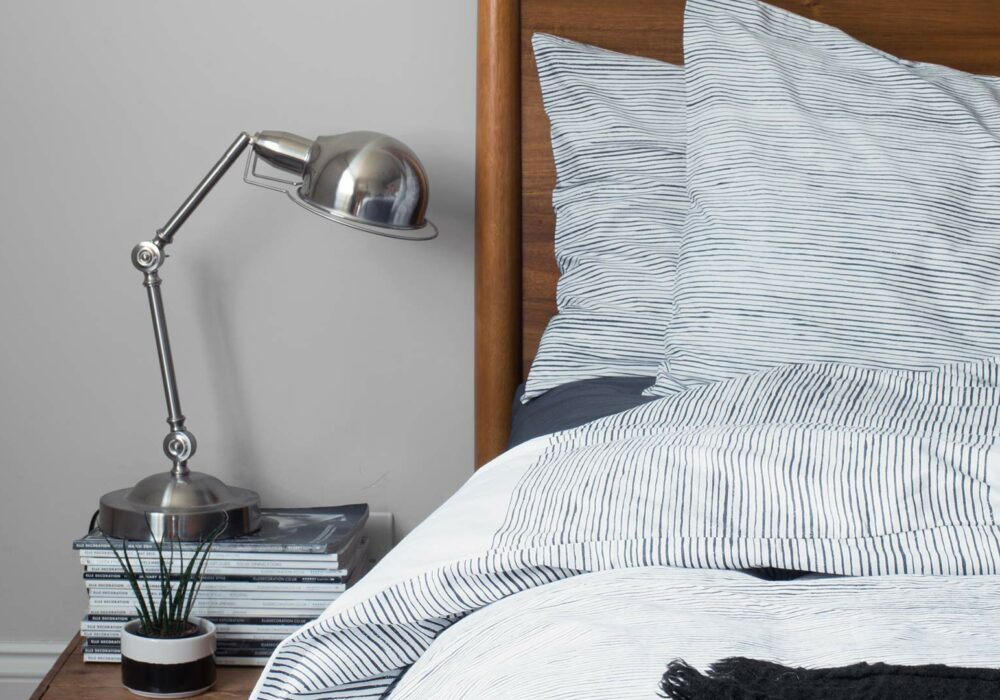 painted stripe bedding