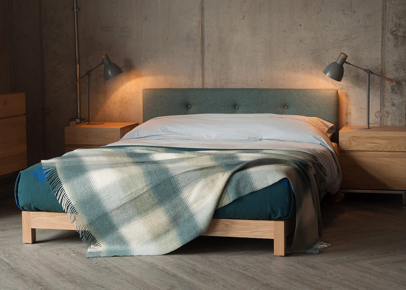 Iona-low-upholstered-bed - small bedrooms inspiration