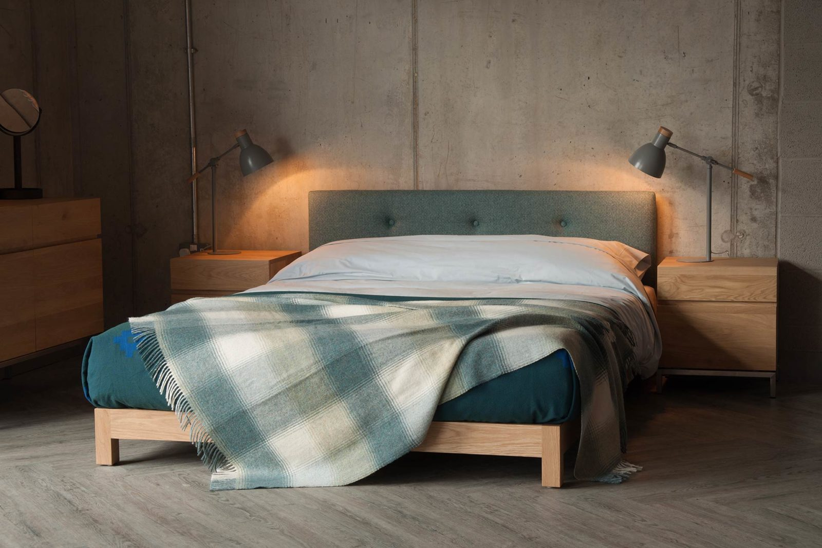 Made in uk our Iona low upholstered bed comes in a choice of timber and fabric, and in a full range of bed sizes.
