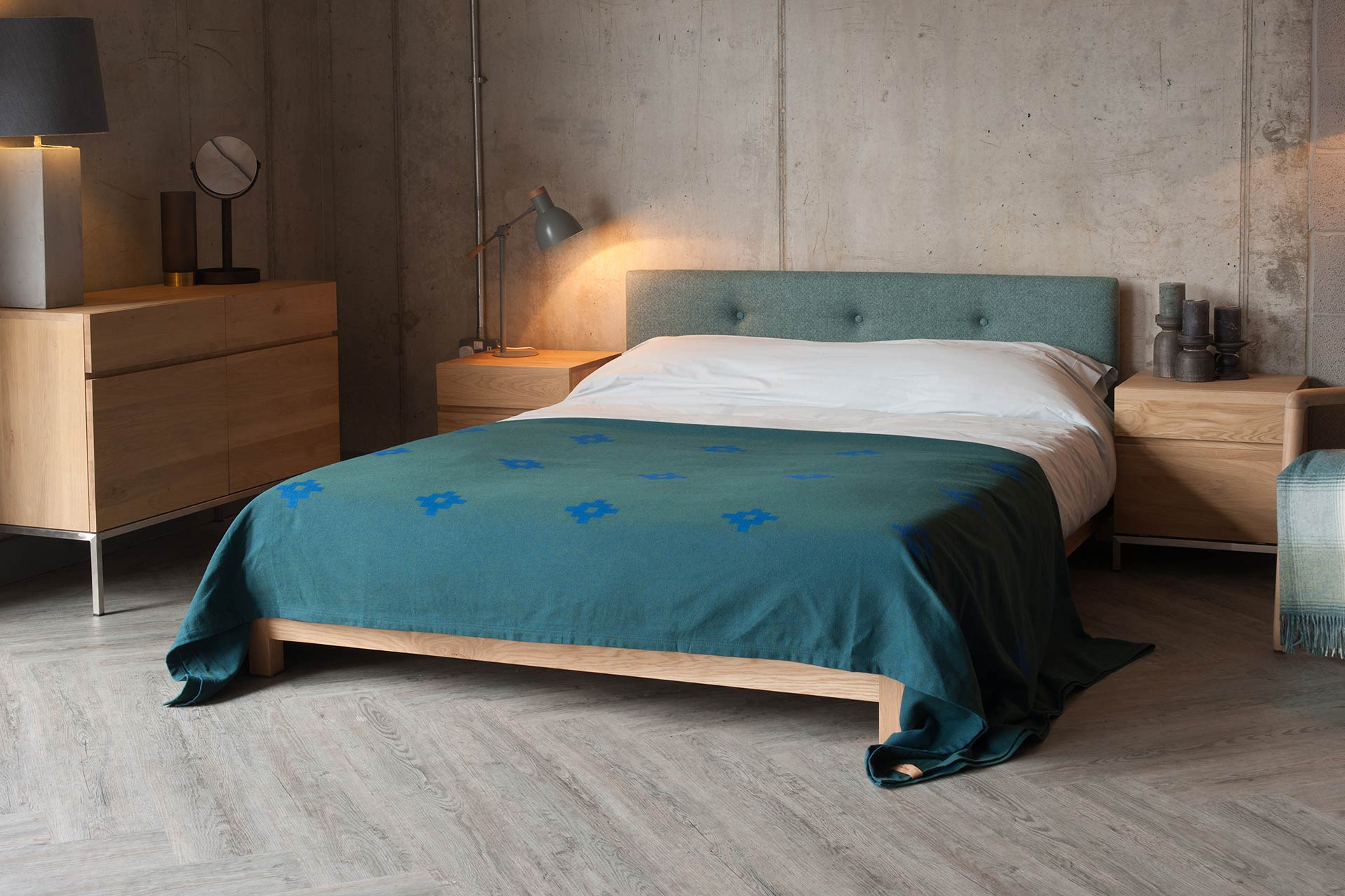 low wooden bed frame with upholstered headboard - the Iona Bed