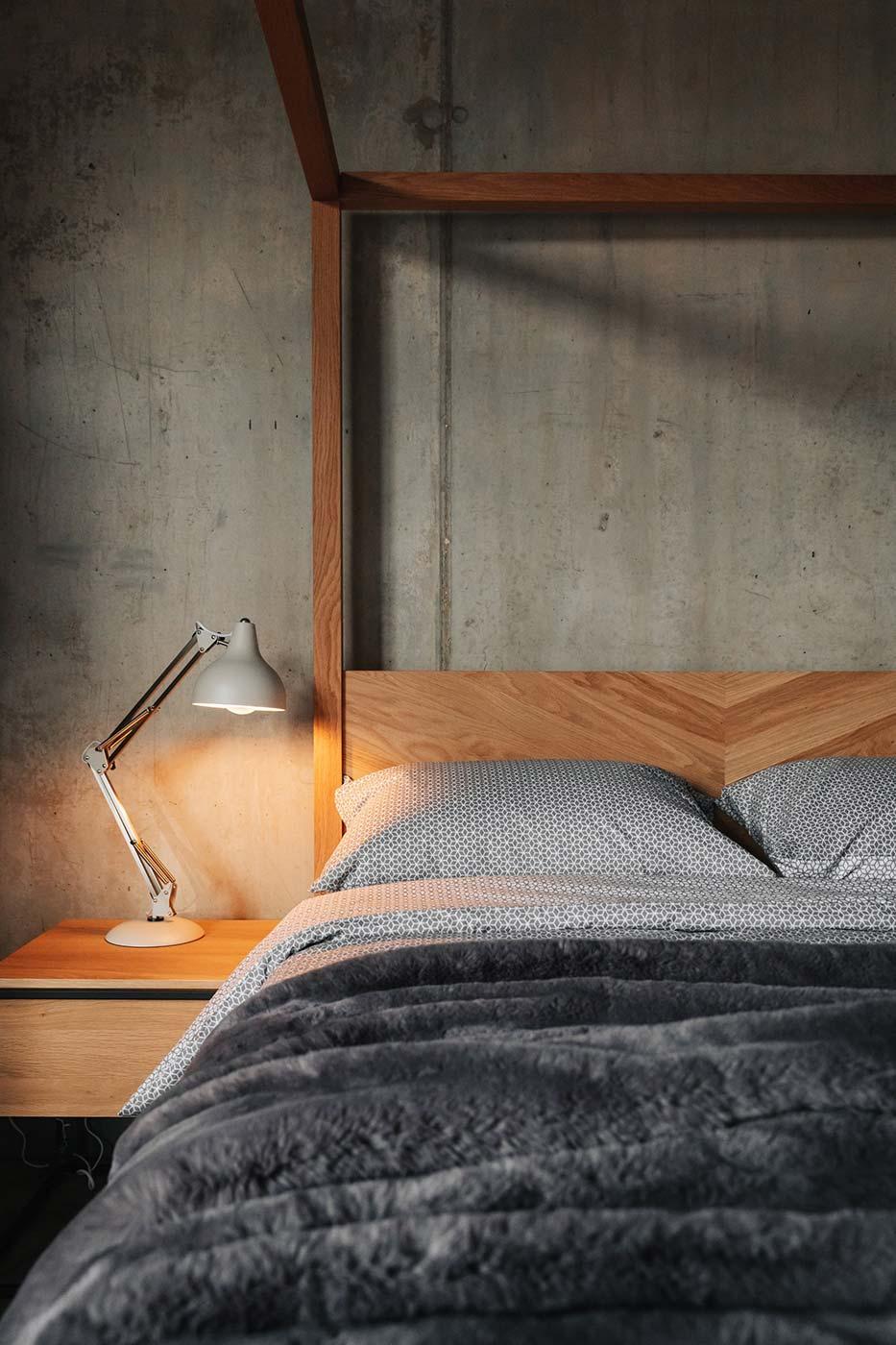 Grey reversible duvet set and faux fur bedspread on Kelham solid oak 4 poster bed