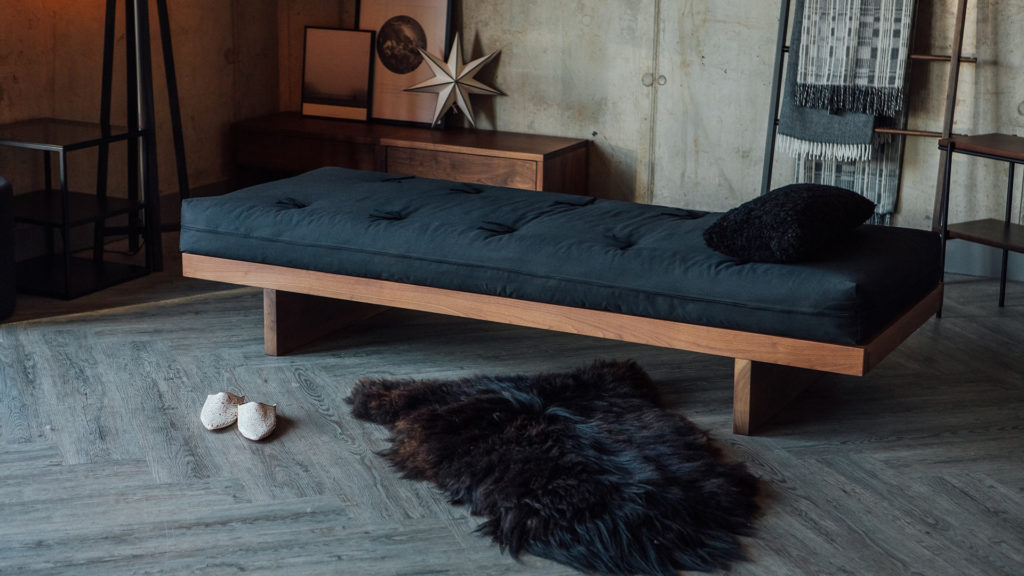 Our Walnut Kyoto futon day-bed has a solid wood frame Japanese in style