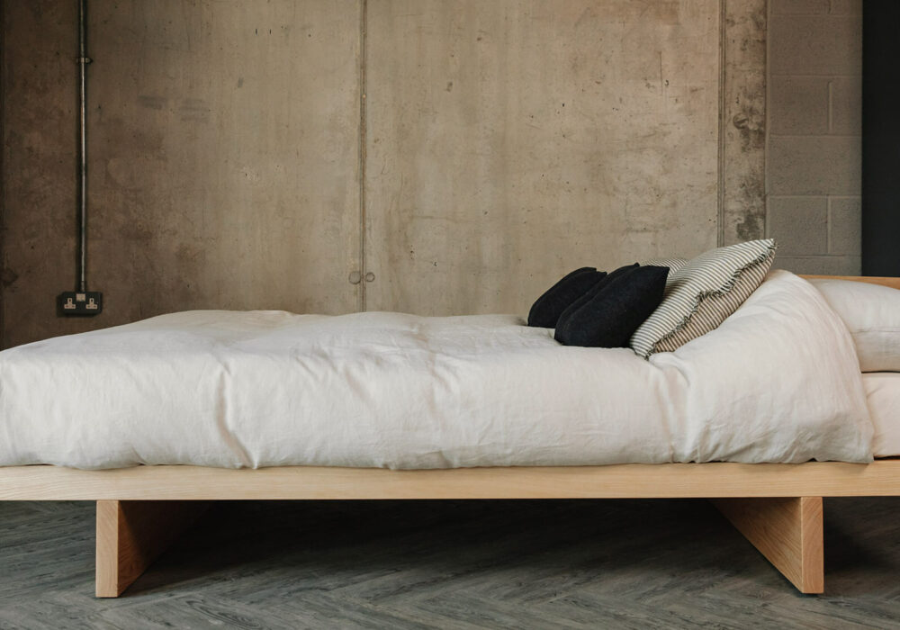 Side View of solid ash Kyoto Japanese style bed