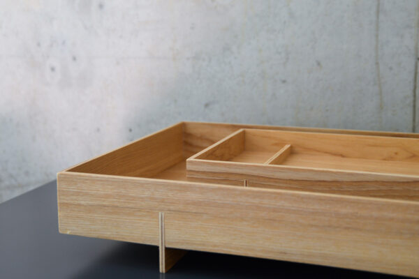 Japanese style wooden trays available in two sizes