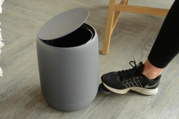 soft finish matt grey bathroom pedal bin