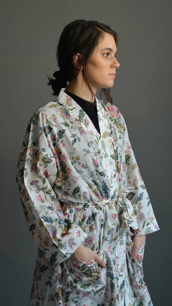floral print light cotton kimono