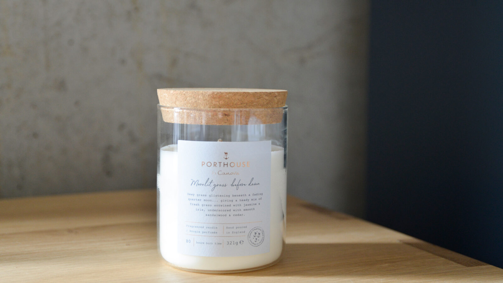 scented candle in a glass jar, moonlit grass fragrance