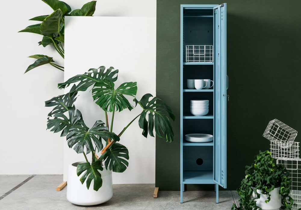 Tall Thin storage Locker in Ocean Blue