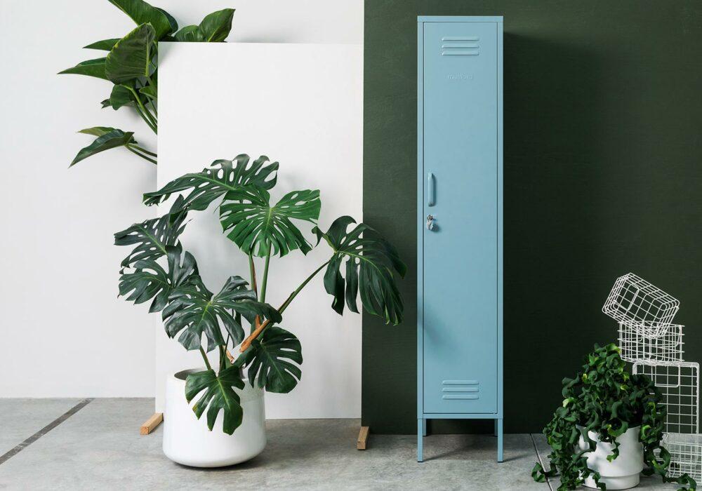 Blue Tall Thin storage Locker - Door Closed
