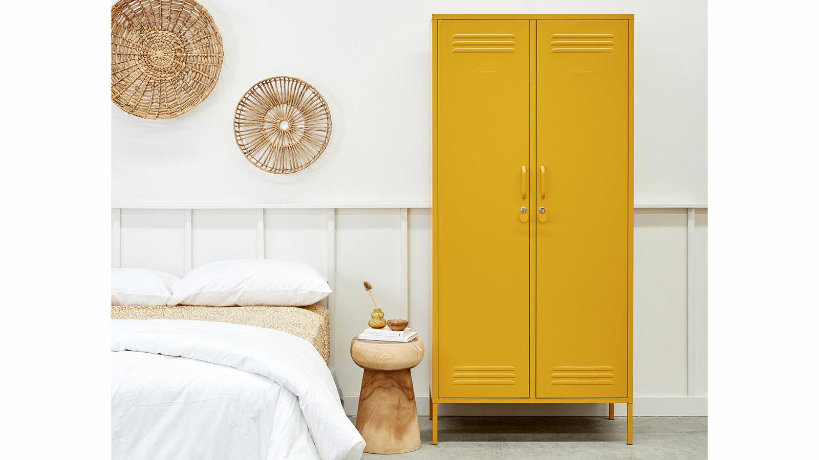 Wardrobe storage locker in mustard yellow