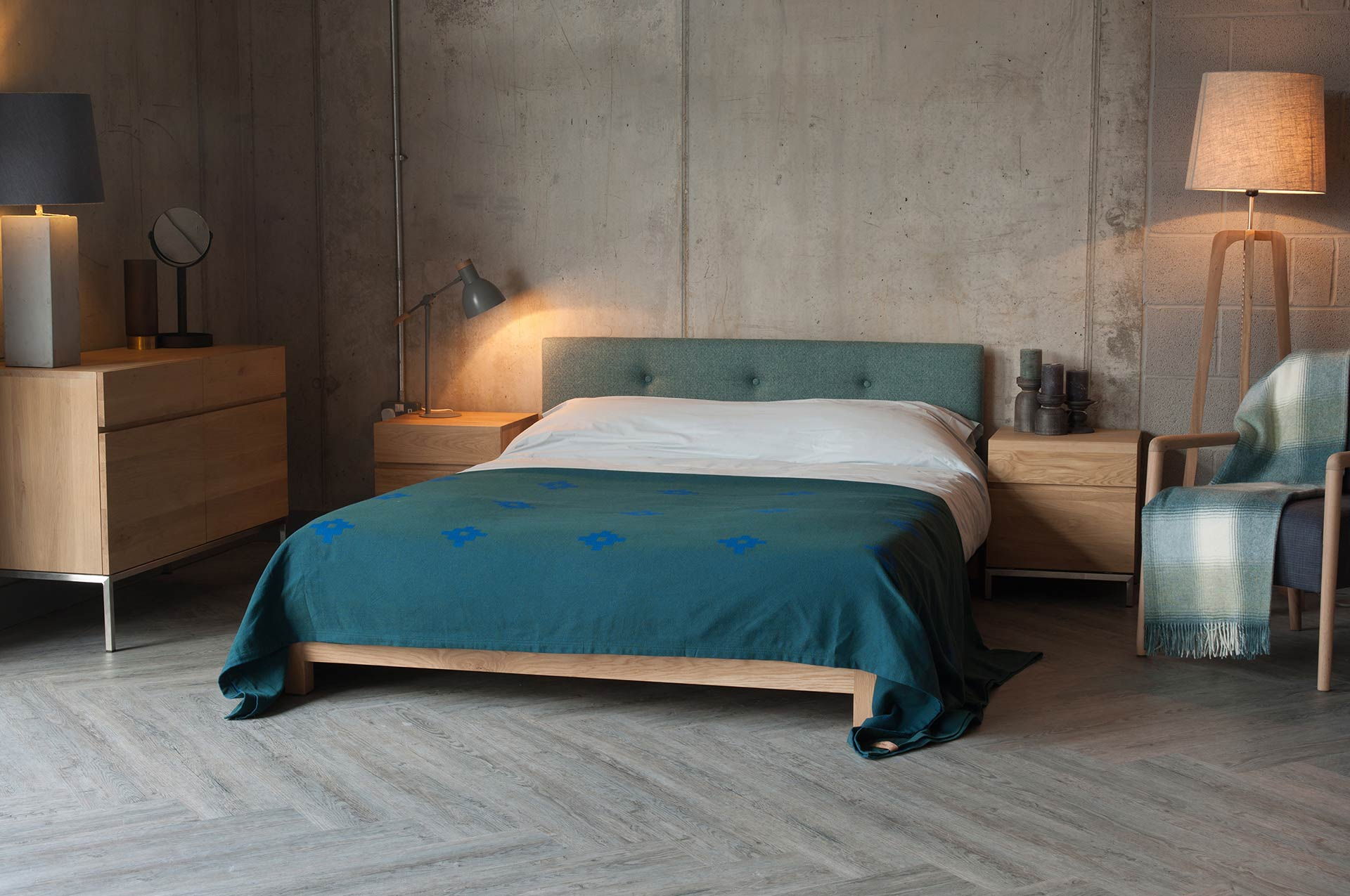 Ligna bedside cupboards shown with our low wooden Iona bed