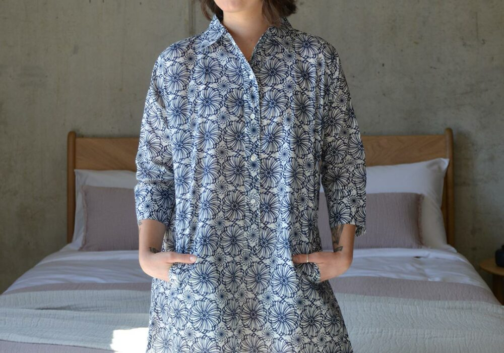 100% cotton nightshirt in a modern navy floral print