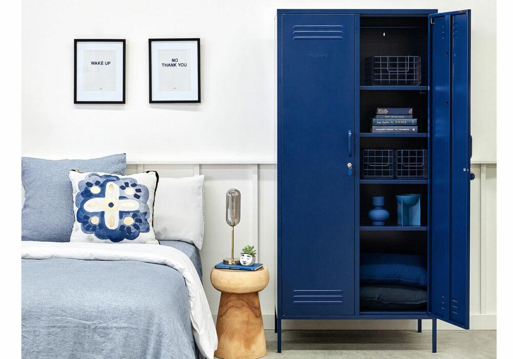 wardrobe storage locker in blue shown with one door open