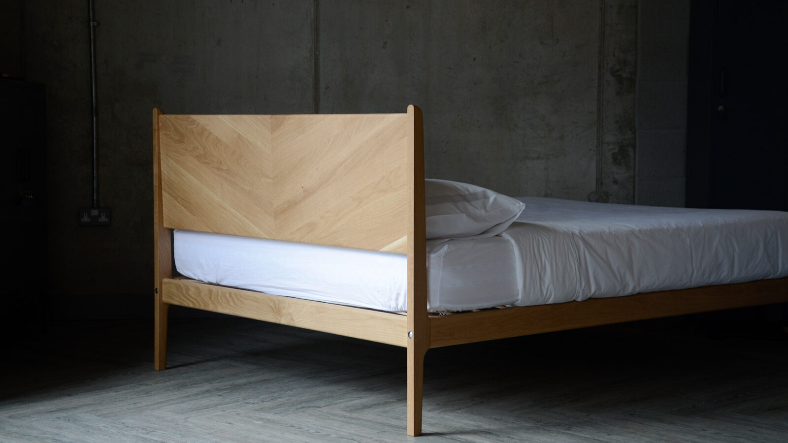 a view of the headboard reverse of our hand crafted Hoxton bed with chevron pattern headboard