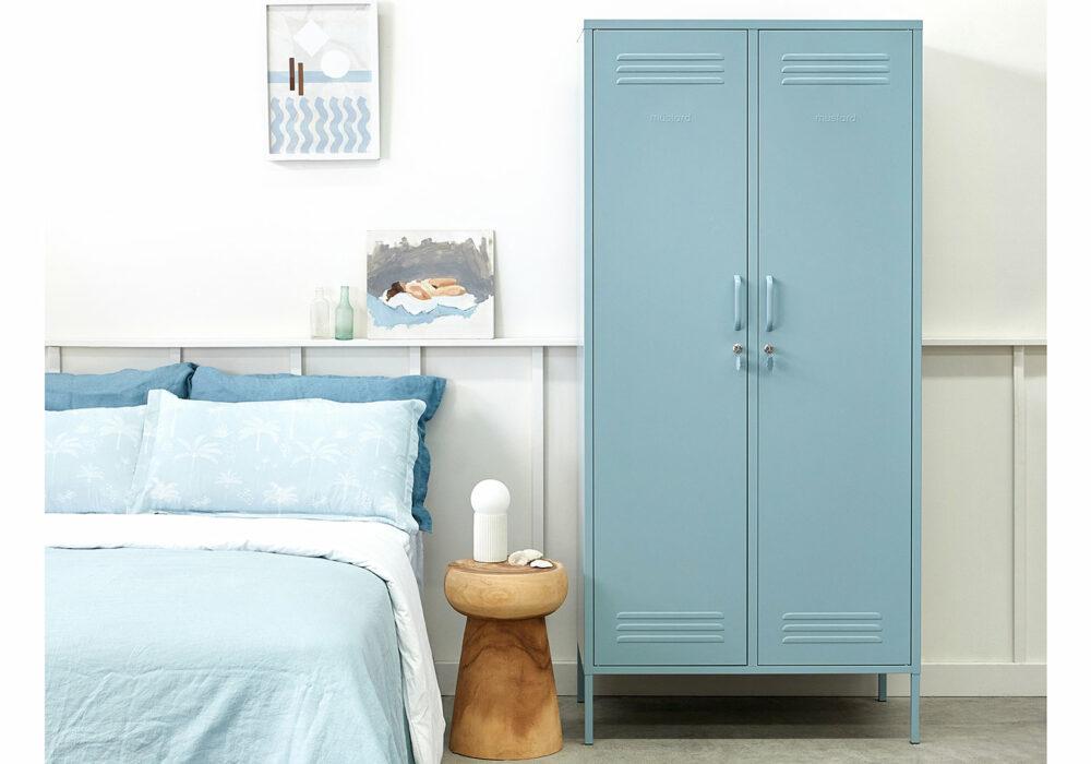 Wardrobe storage locker in pastel ocean blue colour
