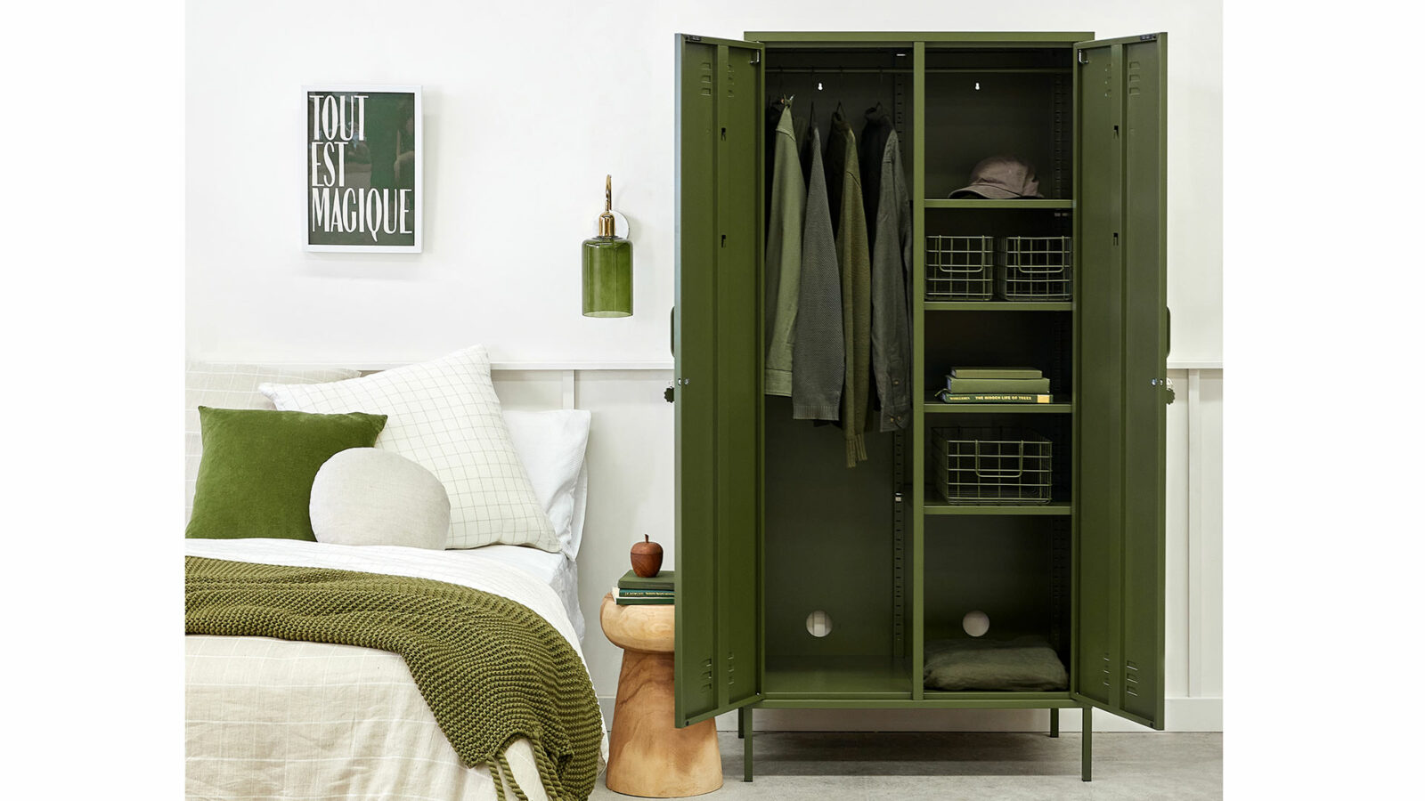 wardrobe storage locker in olive green shown with both doors open