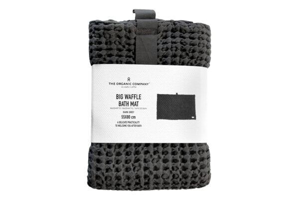 Organic Cotton Waffle weave Bath Mat in Dark Grey