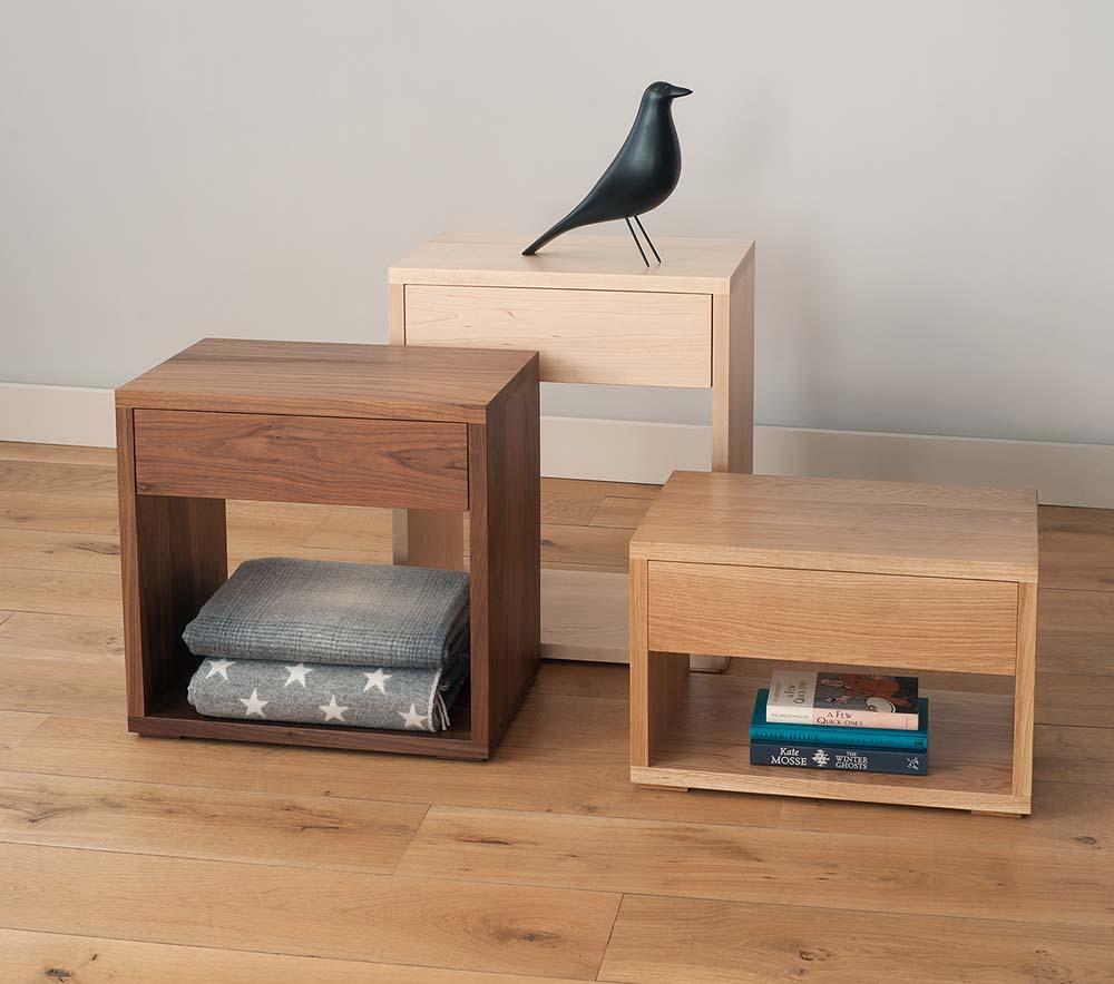 Handmade wooden bedside cabinets