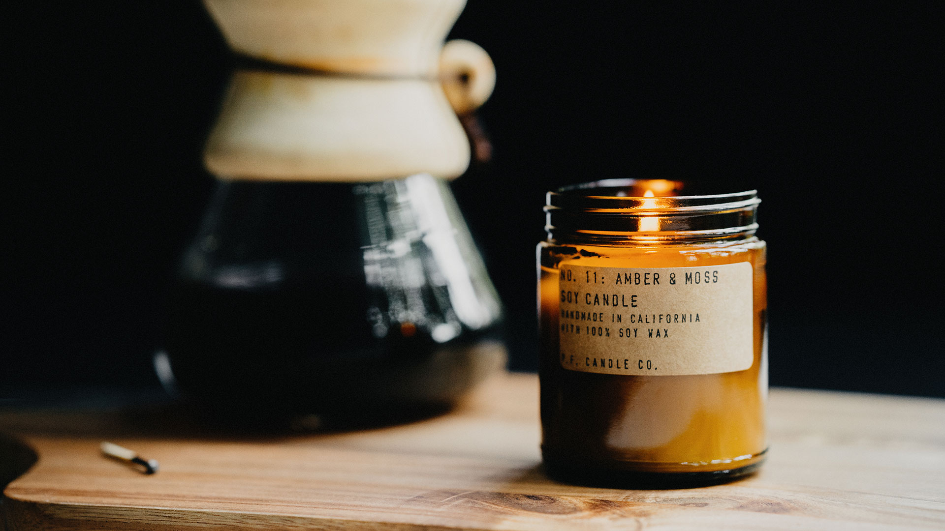 P.F scented candles - amber and moss