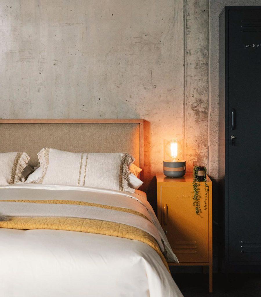 Strap Bedside Lights - Grey on Mustard Locker