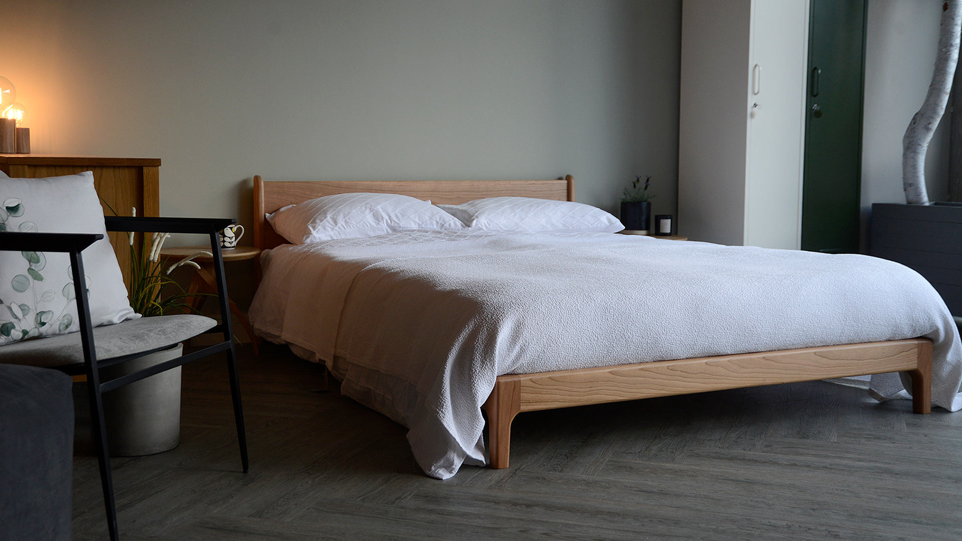 Pimlico bed a low midcentury style wooden bed, here in cherry