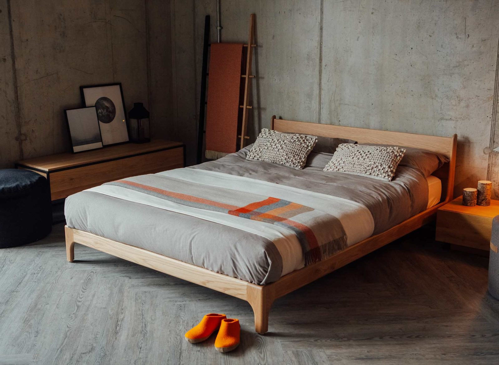 Scandinavian style low wooden Pimlico bed in King size
