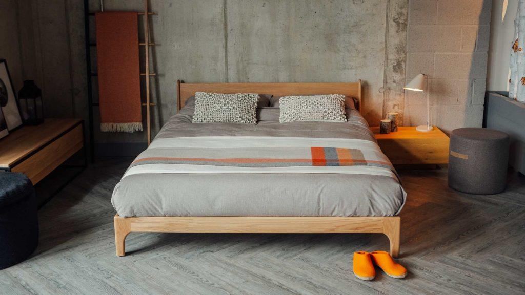 Pimlico low wooden bed in solid oak