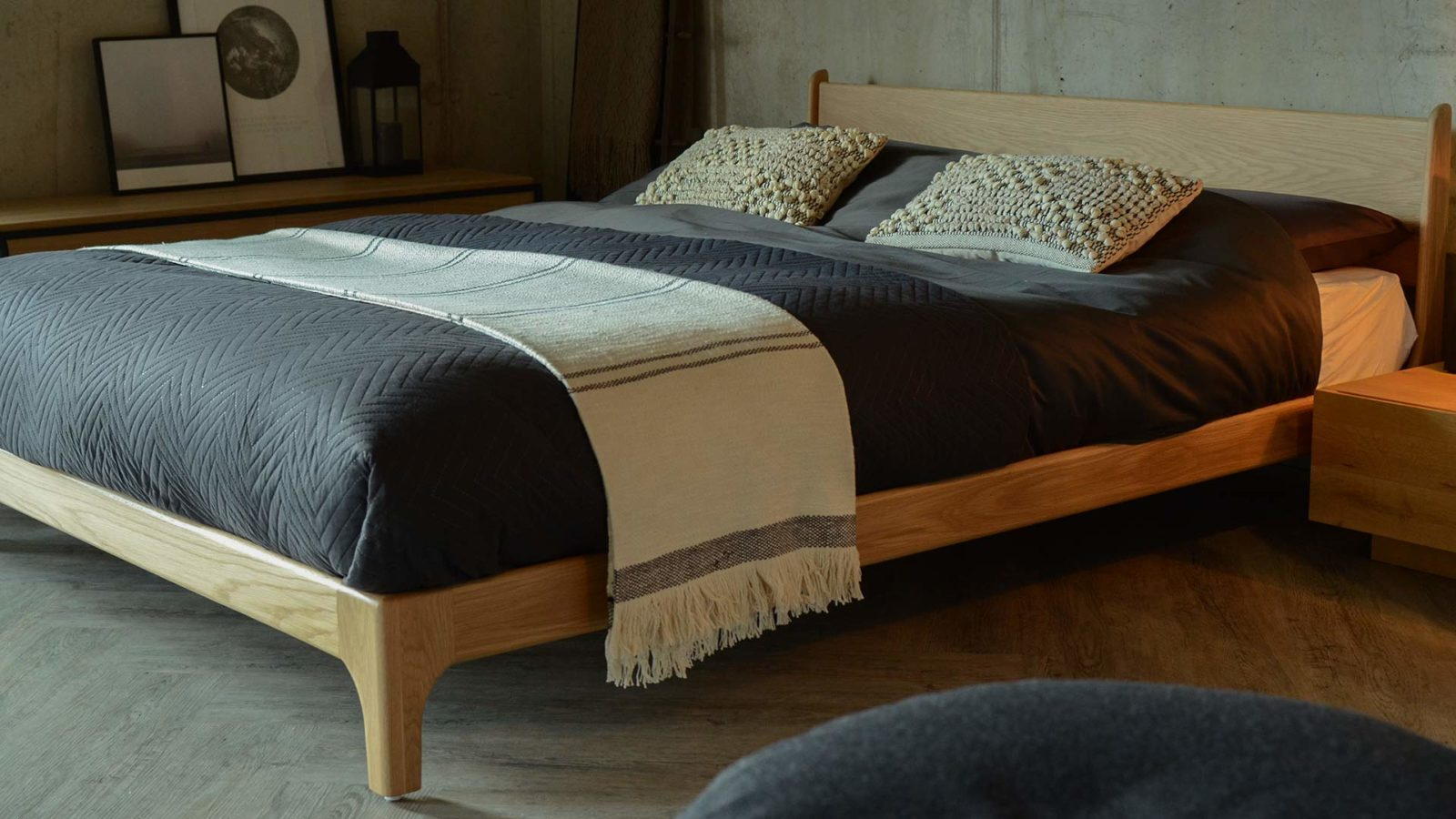 The Oak version of our hand made Pimlico low bed in Kingsize