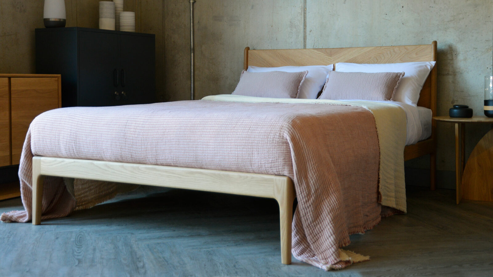 reversible textured cotton bedspread pink striped one side plain cream reverse