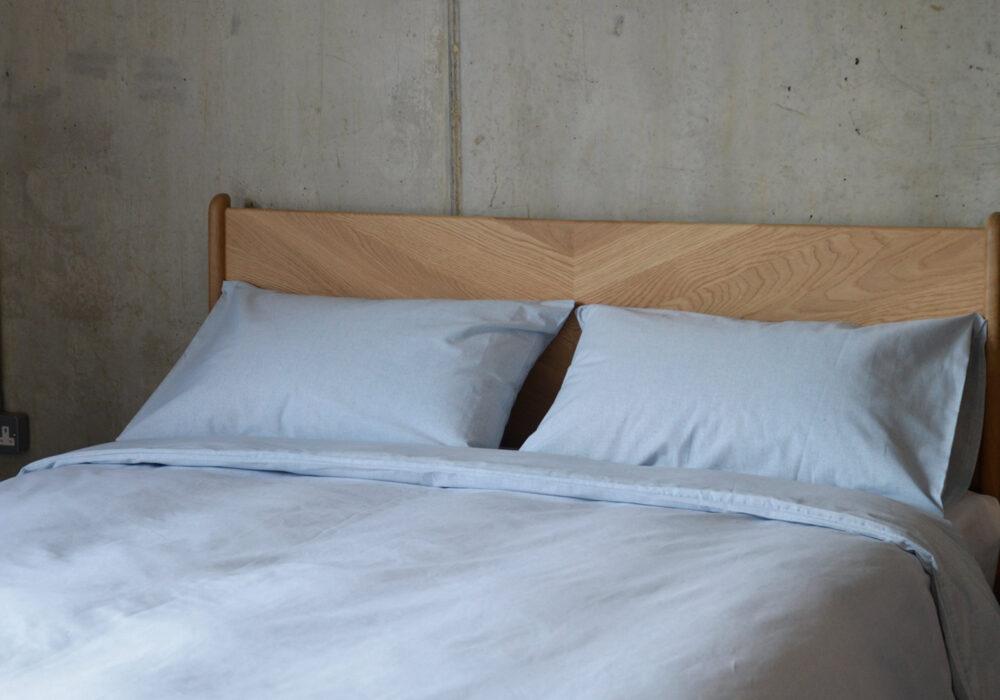pale blue duvet set made from recycled denim fibres