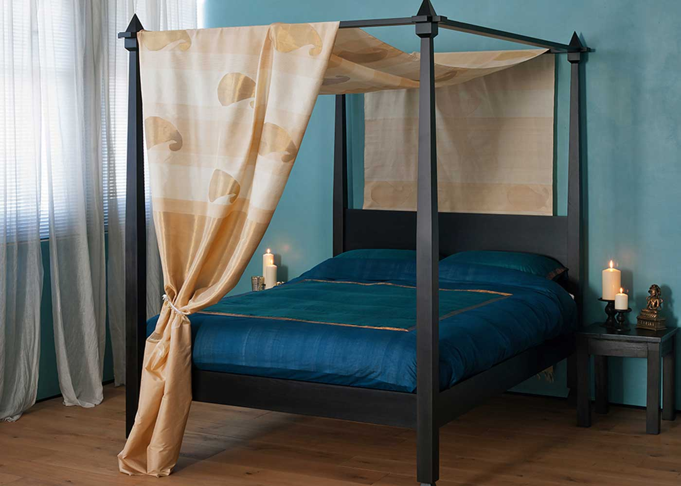 Wenge Stained Tulip Wood Raj 4 Poster wooden Bed
