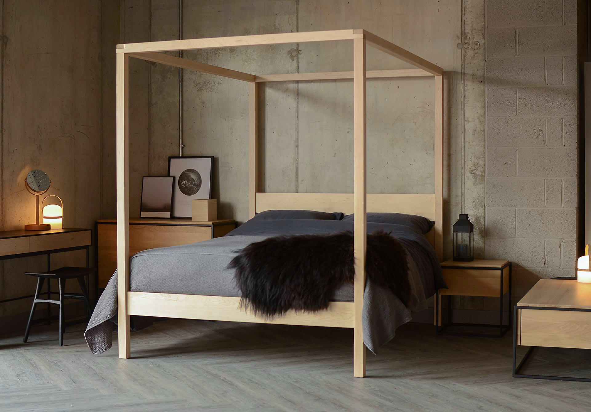For a Scandinavian Bedroom look our solid wooden Orchid 4 poster bed is shown here in Maple