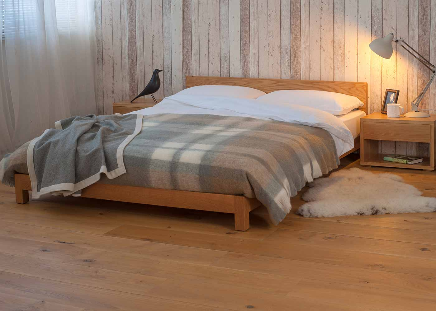 Nevada a low solid wood bed hand made in a range of bed sizes