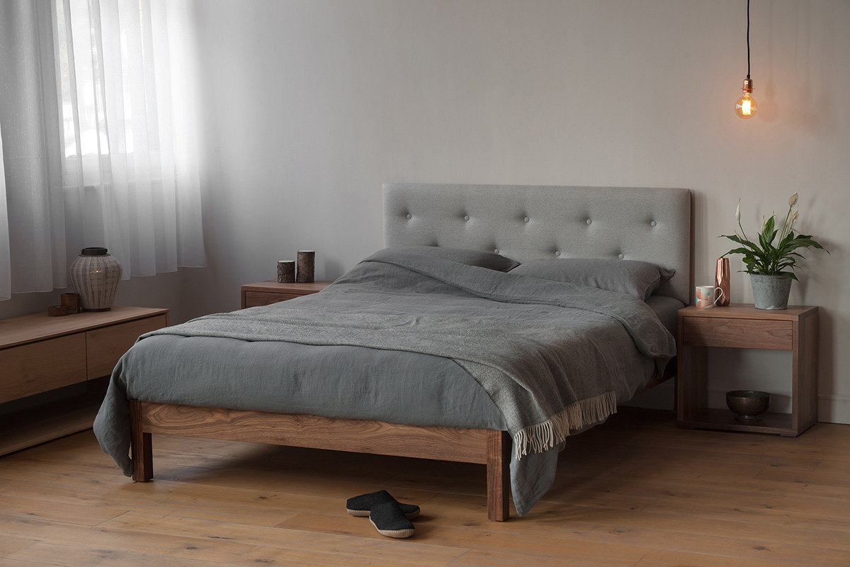 The Arran bed - wooden bed with upholstered headboard hand made in Britain