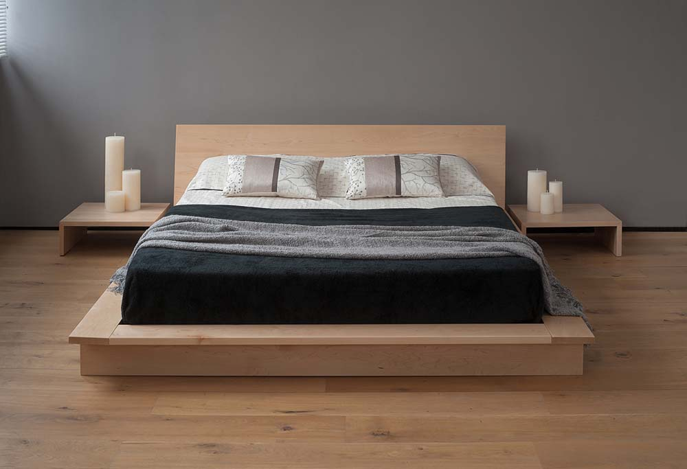 Contemporary Japanese style low Platform Bed, The Oregon