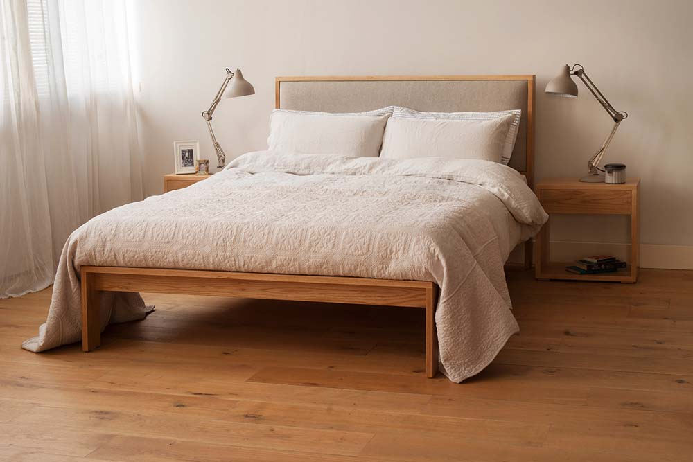 The Shetland wooden Bed Frame - customise your bed with fabric and wood of your choice