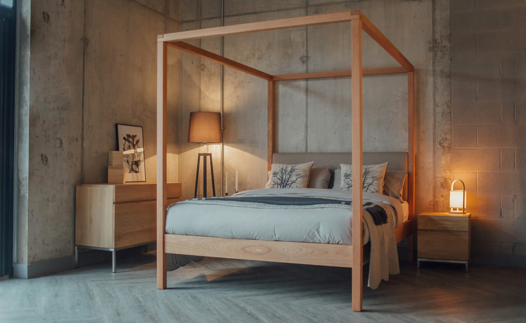 Neutral colours bedroom with Upholstered 4 poster bed in cherry wood - The Highland bed