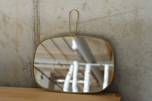 vintage look brass framed mirror to hang or hold