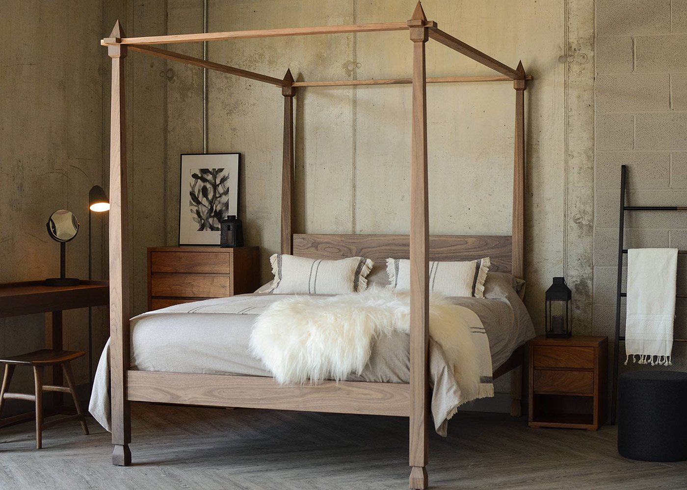 Indian inspired carved Raj wooden 4 Poster Bed in Walnut