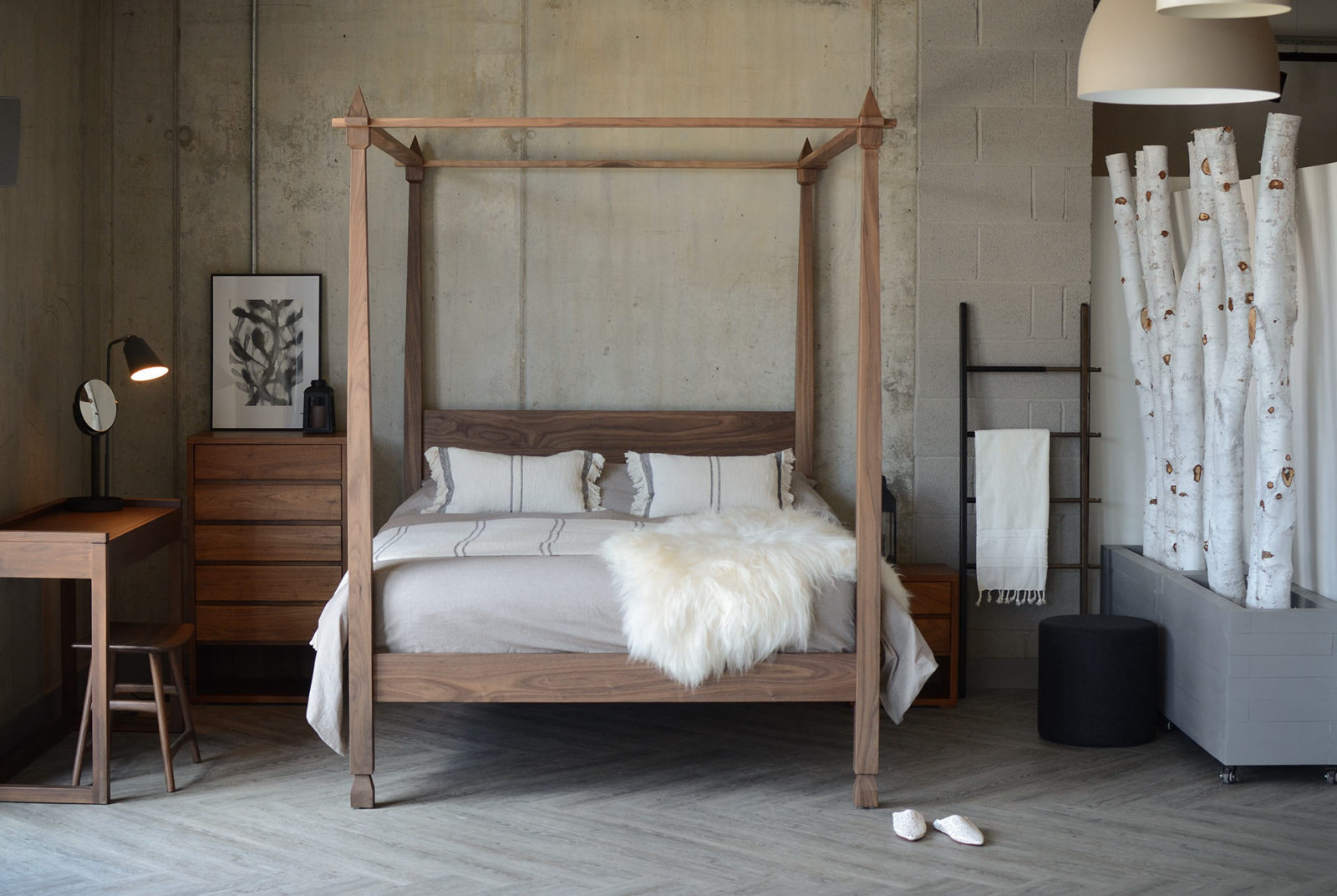 Walnut Raj 4-Poster Bed for Contemporary Indian style, handmade in Sheffield UK