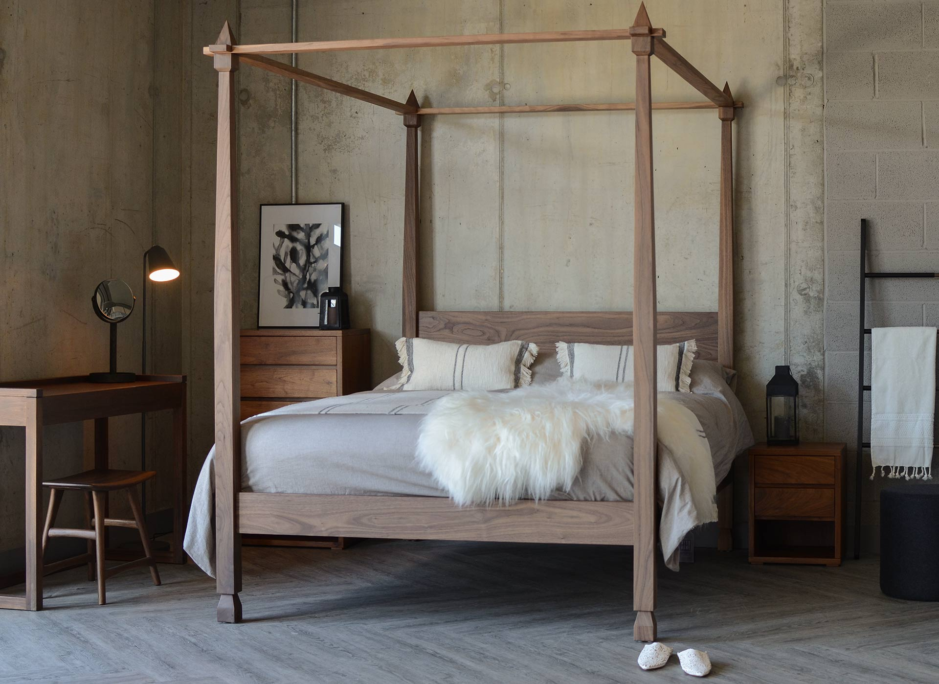 Walnut 4-Poster Indian inspired Raj bed with walnut bedroom furniture