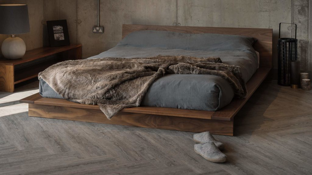 Exclusive nbc designed Oregon bed a low solid wood platform style bed
