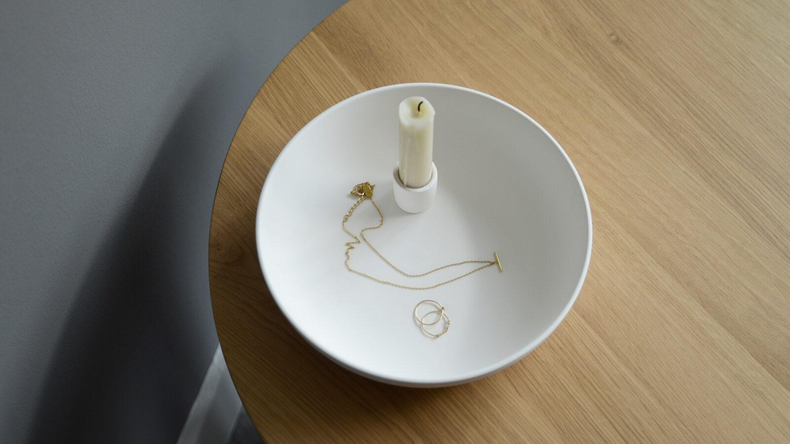 ceramic dish candle holder ivory white colour
