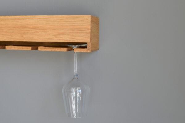 natural oak wall mounted wine glass holder and storage shelf