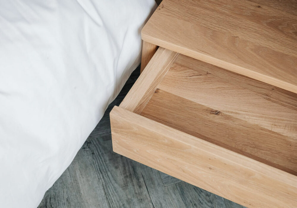 Air oak bedside drawer table - drawer open