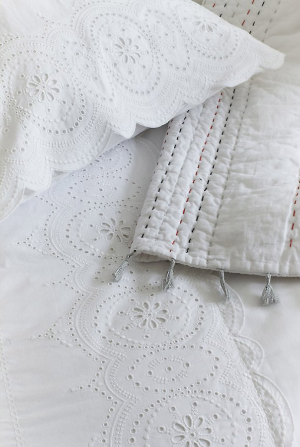 white broderie anglaise bedding
