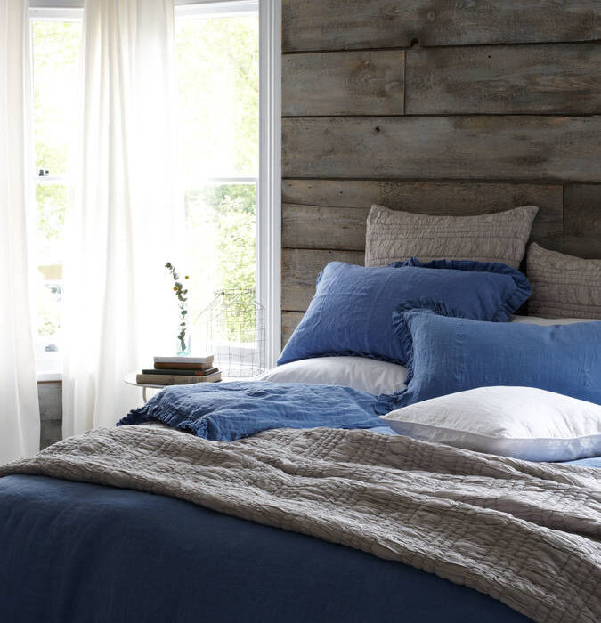 blue linen bedding from Natural Bed Company