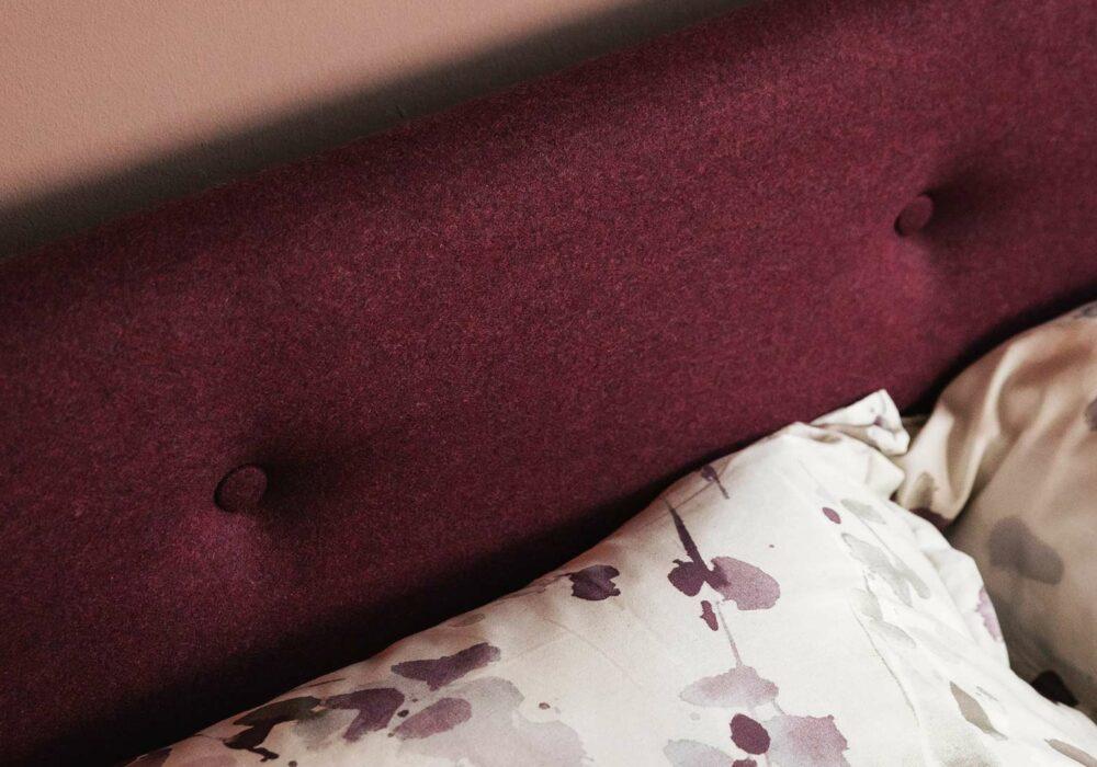 Walnut Iona bed - upholstery in Amatheon Emperor