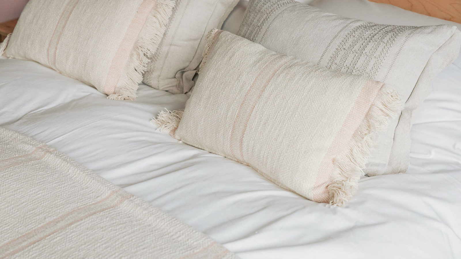 andas soft cotton cushions - blush pink
