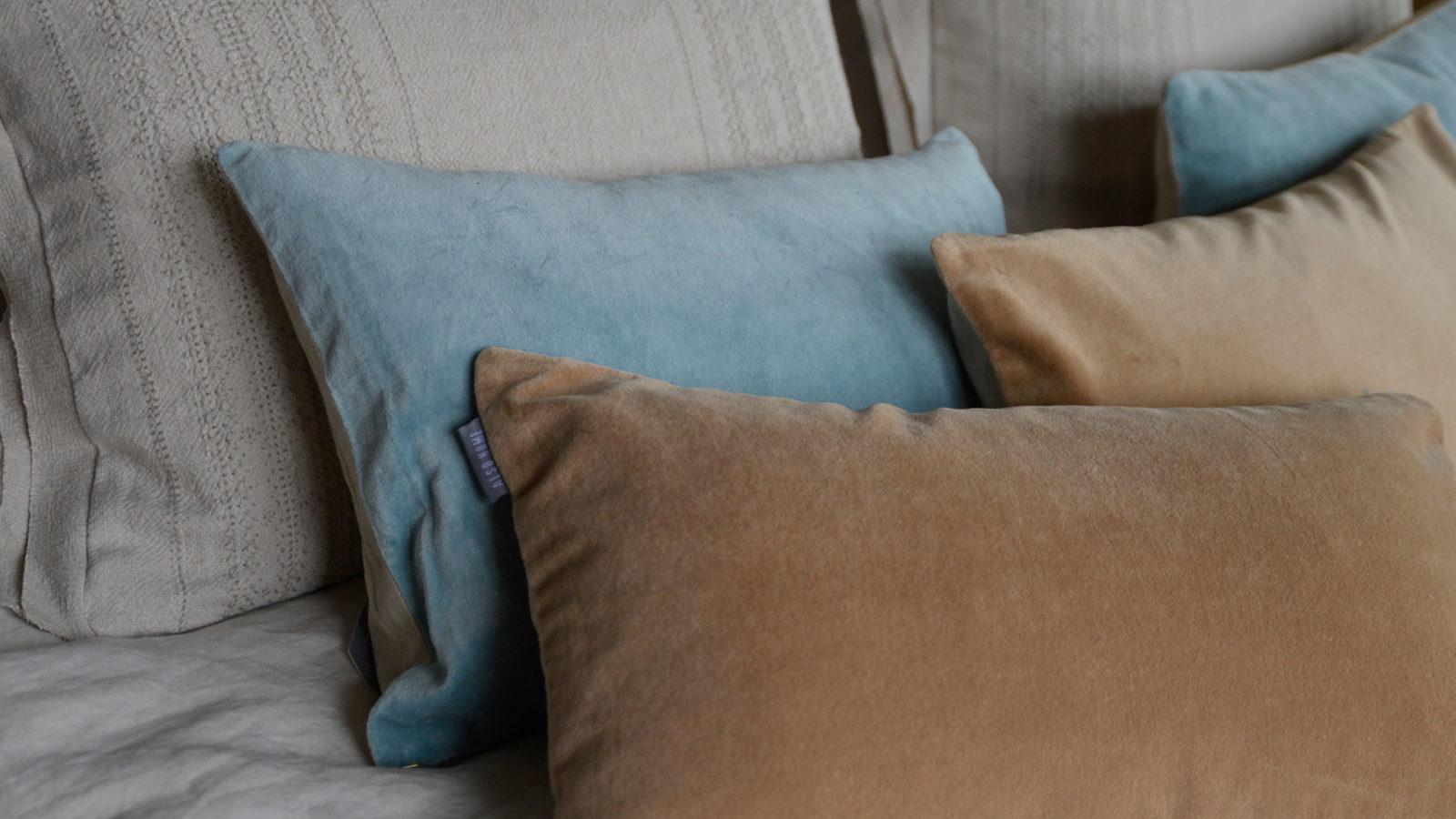 aqua-and-caramel-velvet-cushions